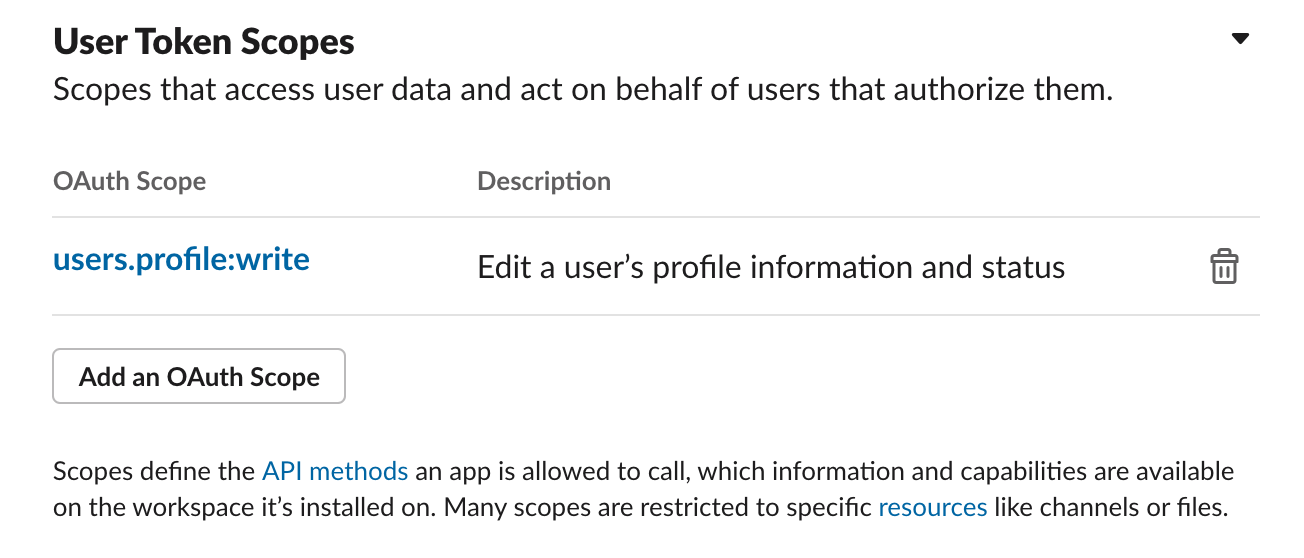 OAuth Scope Selection on Slack API page completed